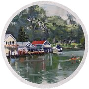 Late Afternoon By The Canal Round Beach Towel