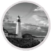 Round Beach Towel featuring the photograph Late Afternoon Clouds, Portland Head Light  -98461 by John Bald