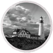 Late Afternoon Clouds, Portland Head Light  -98461-sq Round Beach Towel