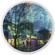 Late Afternoon In Autumn Round Beach Towel