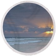 Late Afternoon In Ilha Deserta. Algarve Round Beach Towel