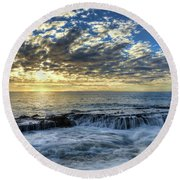 Late Afternoon In Laguna Beach Round Beach Towel by Eddie Yerkish