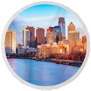 Late Afternoon In Philadelphia Round Beach Towel