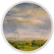 Round Beach Towel featuring the painting  Late Afternoon In Vermont  by Laurie Rohner
