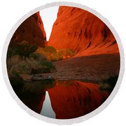 Round Beach Towel featuring the photograph Late Afternoon Light And Reflections At Kata Tjuta In The Northern Territory by Keiran Lusk