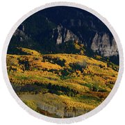 Round Beach Towel featuring the photograph Late Afternoon Light On Aspen Groves At Silver Jack Colorado by Jetson Nguyen