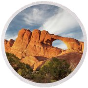 Late Afternoon Light On Skyline Arch Round Beach Towel