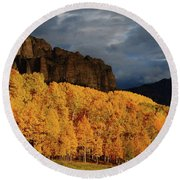 Late Afternoon Light On The Cliffs Near Silver Jack Reservoir In Autumn Round Beach Towel by Jetson Nguyen