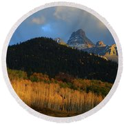 Round Beach Towel featuring the photograph Late Afternoon Light On The San Juans by Jetson Nguyen