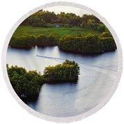 Late Afternoon On Lake Megunticook, Camden, Maine -43988 Round Beach Towel