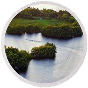 Late Afternoon On Lake Megunticook, Camden, Maine -43988 Round Beach Towel