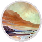 Late Afternoon On San Simeon Beach Round Beach Towel