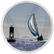 Late Afternoon Sail Round Beach Towel