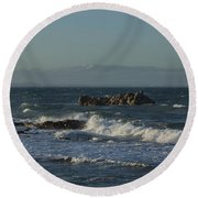 Late Afternoon Waves Round Beach Towel