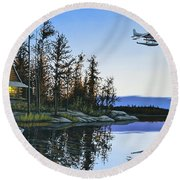 Late Arrival Round Beach Towel