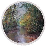 Late Autumn Afternoon Round Beach Towel