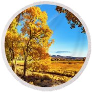 Late Autumn In The Carson Valley Round Beach Towel by Nancy Marie Ricketts