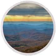 Late Autumn Vista Round Beach Towel