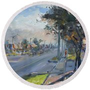 Late Evening In Guelph Street Georgetown Round Beach Towel