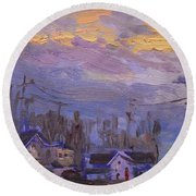 Late Evening In Town Round Beach Towel