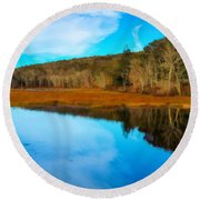 Late Fall At A Connecticut Marsh. Round Beach Towel