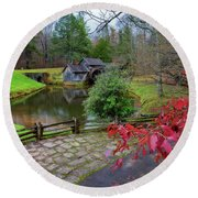 Late Fall At Mabry Mill Round Beach Towel