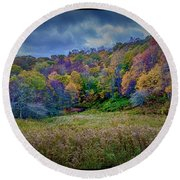 Late Fall On Green Knob Trail Round Beach Towel