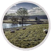 Late Fall Pastoral Round Beach Towel