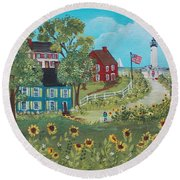 Round Beach Towel featuring the painting Late July by Virginia Coyle