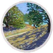 Late Light's Shadows Round Beach Towel by Gary Coleman