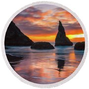 Round Beach Towel featuring the photograph Late Night Cloud Dance by Darren White