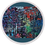 Late Night Reflections Round Beach Towel