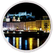 Round Beach Towel featuring the photograph Late Night Stroll In Salzburg by David Morefield