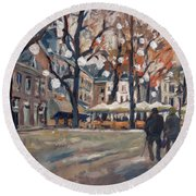 Late November At The Our Lady Square Maastricht Round Beach Towel by Nop Briex
