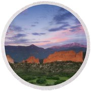 Late Spring Sunrise Round Beach Towel