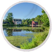 Late Summer - The Red Mill  On The Raritan River - Clinton New J Round Beach Towel by Bill Cannon