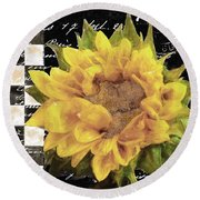 Late Summer Yellow Sunflowers II Round Beach Towel