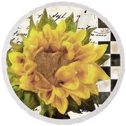 Late Summer Yellow Sunflowers Round Beach Towel