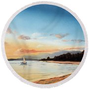 Late Sunset Along The Beach Round Beach Towel