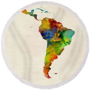Latin America Watercolor Map Round Beach Towel