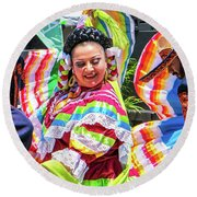 Latino Street Festival Dancers Round Beach Towel