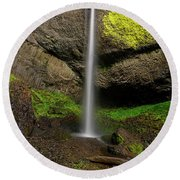 Round Beach Towel featuring the photograph Latourell Falls by Jonathan Davison