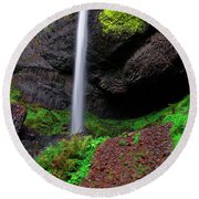 Round Beach Towel featuring the photograph Latourell Falls Oregon by Jonathan Davison