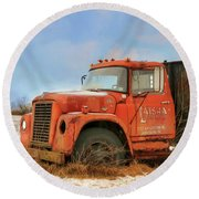Round Beach Towel featuring the photograph Latsha Lumber Truck by Lori Deiter
