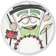 Latte Drummer Round Beach Towel