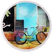 Latte Love Bicycle Round Beach Towel