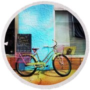 Round Beach Towel featuring the photograph Latte Love Bicycle by Craig J Satterlee