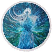 Latte Stone Woman Round Beach Towel