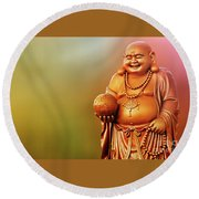 Laughing Buddha Round Beach Towel by Charuhas Images
