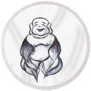 Laughing Buddha Round Beach Towel